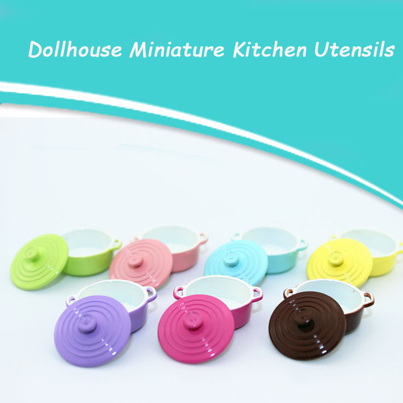 1:12 Dollhouse Miniature Kitchen Utensils Cooking Ware Mini Pot Boiler Pan With Lid Doll House Accessories Play Kitchen Toy