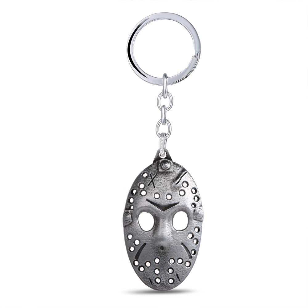 HSIC JEWELRY 10pcs/lot Movie Fans Gifts Jewelry Friday the 13th Mask Keychain Silver Met ...