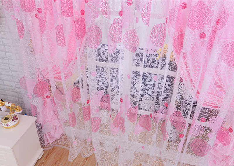 Nest Floral Voile Door Curtain Window Room Curtain Divider Scarf Pink Quality all-match window screens tulle sheer solid voile