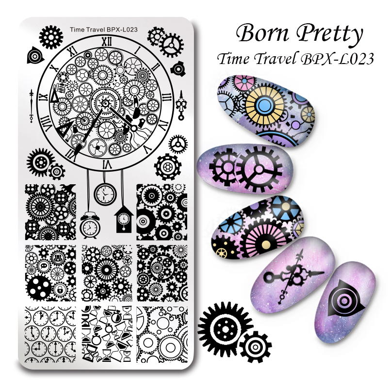 BORN PRETTY 1 Pc Nail Stamping Plate Template Time Travel Rectangle Manicure Stamping Plate Nail Art Plate BPX-L023