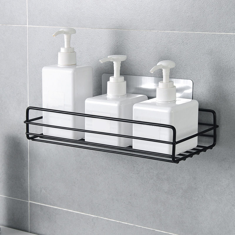 Iron Kitchen Bathroom Shower Shelf Storage Suction Basket Caddy Rack Easy To Install Without Installation Traces _Wk
