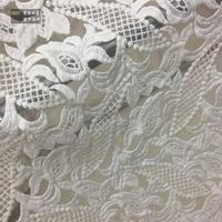LEO&LIN double-sided 100%Cotton Embroidery Lace White Organza Yarn water-soluble Lace Fabric Dress Fashion