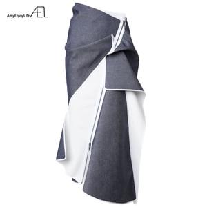 Image 5 - AEL גבוה מותניים טלאי ג ינס חצאית להתנפנף גבירותיי Longuette 2017 Saia Midi קיץ מסלול נשים של בגדי נהיגה לראשונה חצאית כיסא