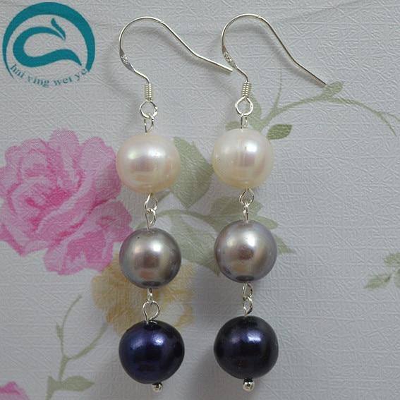 22bd0d637b5e White Gray Black Natural Pearl Earrings 10-11mm Big Size Freshwater Drop  Pearl Earrings 925 Silver Fine Jewelry Gift For Women