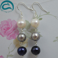 White Gray Black Natural Pearl Earrings 10-11mm Big Size Freshwater Drop 925 Silver Fine Jewelry Gift For Women