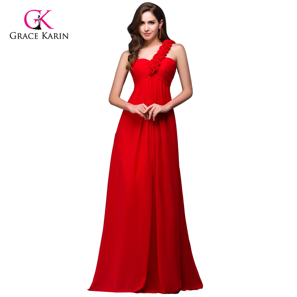 Red Prom Dresses 2018 Grace Karin One shoulder Yellow Blue Long ...