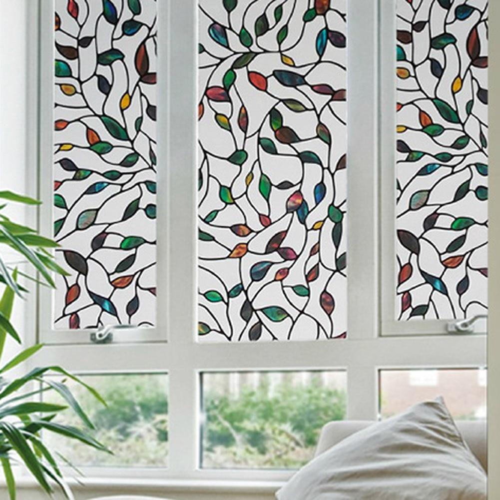 45x100cm leaf grape magnolia orchid flower static cling glass window film uv protection ecofriendly
