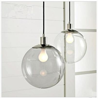 Modern Crystal Glass Ball Pendant Light Restaurant Bar Single Clear Dia 20cm 25cm 30cm - DGY Indoor Lighting store