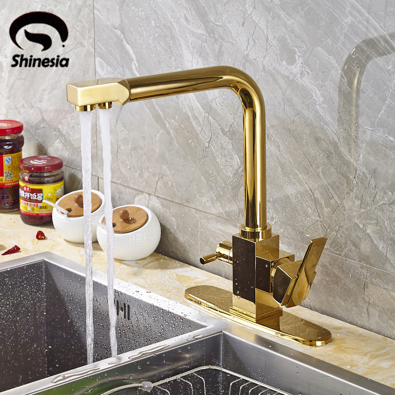 Gold Purification Kitchen Faucet Swivel Spout Bathroom Sink Mixer Tap Hot & Cold Water & Pure Water dual spout kitchen purification faucet drinking tap pure water faucet hot and cold mixer taps chrome brushed nickle gold