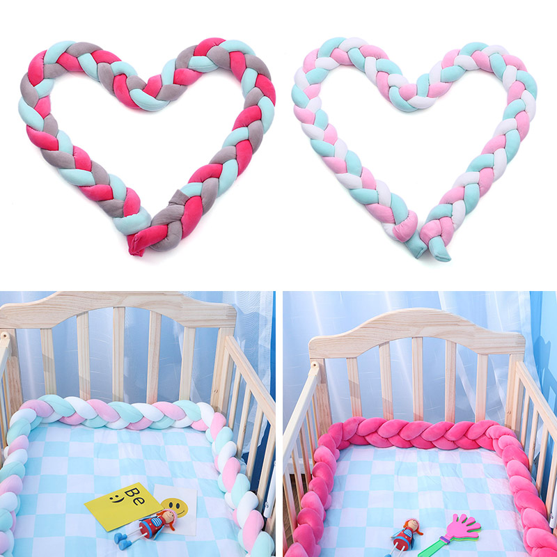 Soft Knitted Knot Ball Long Strip Baby Bedding Stuffs Baby Bed Bumper Kids Room Decor S7JN