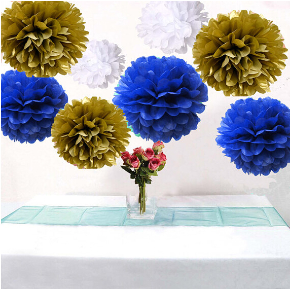 18pcs Mixed Royal Blue White Gold Diy Tissue Paper Flower Pompoms Wedding Shower Birthday Party Nursery Hanging Decoration In Artificial Dried Flowers
