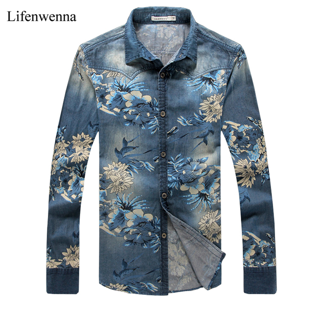 New Arrival Men's Denim Shirt Fashion Brand Floral Print Long ...