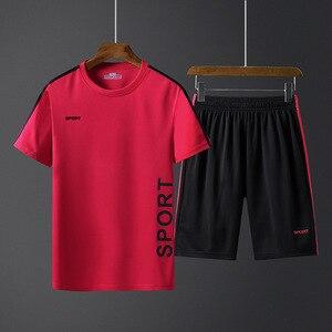 Image 3 - Летние мужские спортивные комплекты, тренировочный костюм, мужская верхняя одежда с буквенным принтом, большой размер 5XL, спортивный костюм, комплект из 2 предметов, мужской спортивный костюм с круглым воротником