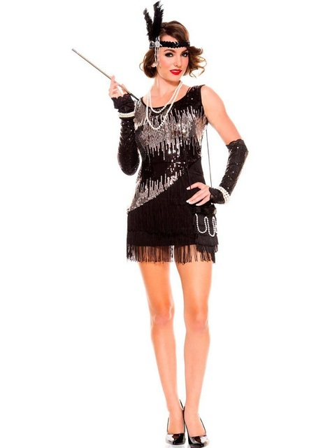 20s Y Las Fancy Dresses 1920s Charleston Gangster Black Silver Sequined Fler Women Costume