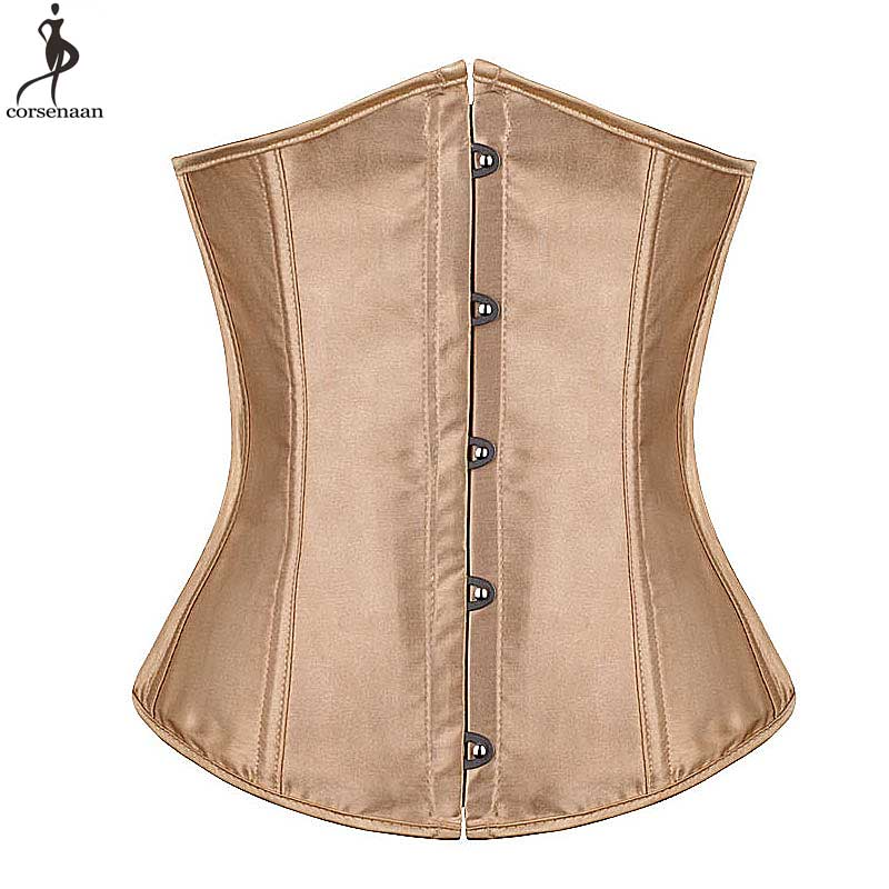 Underbust Push Up   Corset   Chest Binder Satin Brocade   Bustier   Plus Size 6XL Solid Korsett For Women Outfit Waist Slim Gothic Korse