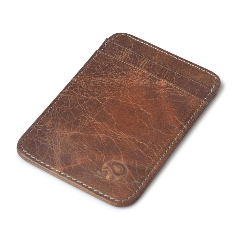Simple Genuine Leather business card wallet vintage credit card ...