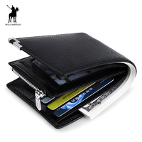 WILLIAMPOLO 2016 Genuine Leather Purse Coin Wallet Coin Holder Casual Coin Pouch Card Holder Black POLO156