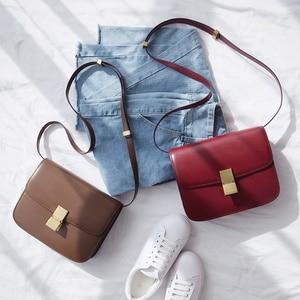 Image 1 - VENOF Fashion Split Leather Women Shoulder Bag Simple Female Crossbody Bags Terse Ladies Messenger Bags Brand bag For Women 2018