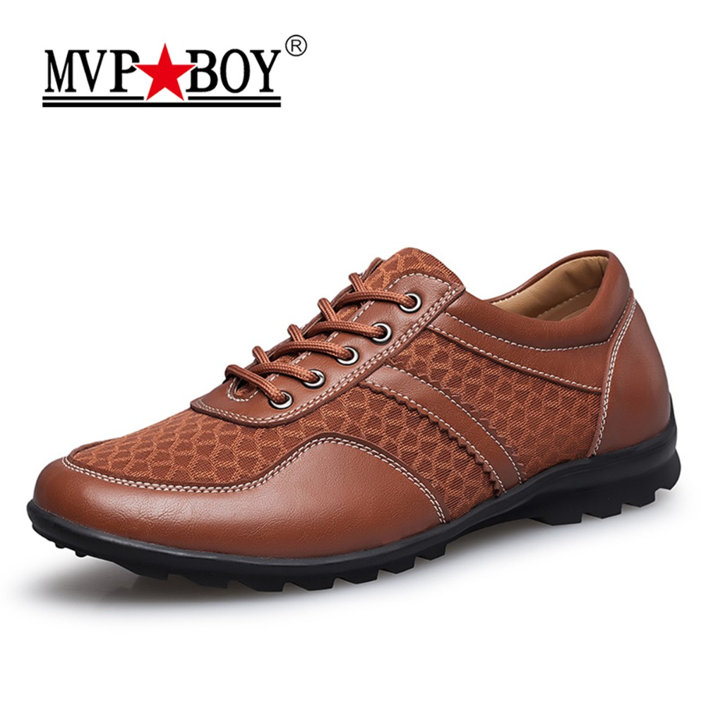 MVP BOY Brand 2018 Men Summer Shoes Breathable Mesh Man Cow Genuine Leather Shoes Comfort Super Soft Men Casual Shoes Big Size top brand high quality genuine leather casual men shoes cow suede comfortable loafers soft breathable shoes men flats warm