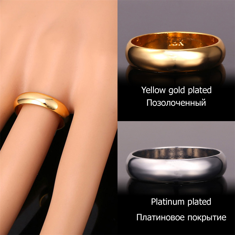 5c416ea4995 U7 Silver Gold Color Rings High Quality Women Men Jewelry Wholesale Classic  3mm Wedding Band Ring R302-in Rings from Jewelry   Accessories on  Aliexpress.com ...