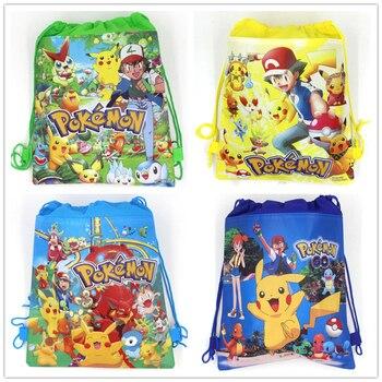 Pokemon Go tema Pikachu telas no tejidas de bolsa con cordón mochila bolso de regalo bolsa de almacenamiento favor de niño escuela bolsa de suministros para fiesta