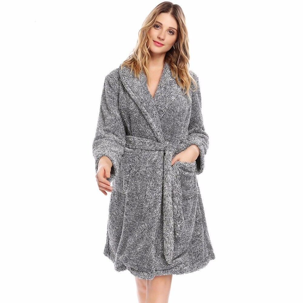 Winter Kimono Flannel Bathrobe Women Warm Thicken Spa Bath Robe ...