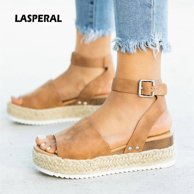 Zeppe Scarpe Per Le Donne Pompe Sandali Con Zeppa Nero Tacchi Alti Scarpe Estate 2019 di Vibrazione Flop Chaussures Femme Sandali Della Piattaforma # hot