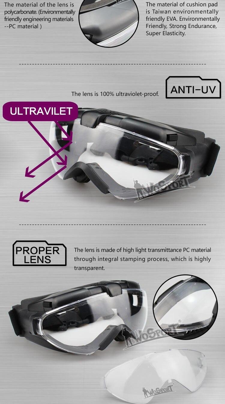 Óculos tático militar para paintball, óculos resistente