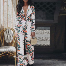 Women Floral Print Bodycon Club Party Casual Vacation Long Jumpsuit  Playsuit 2019 Sleeve Overalls OL Jumpsuits Hot