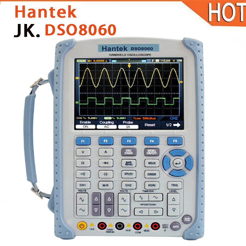 все цены на 2018 hot Hantek DSO8060 5 in 1 Handheld Oscilloscope DMM / Spectrum Analyzer / Frequency Counter / Arbitrary Waveform Generator онлайн