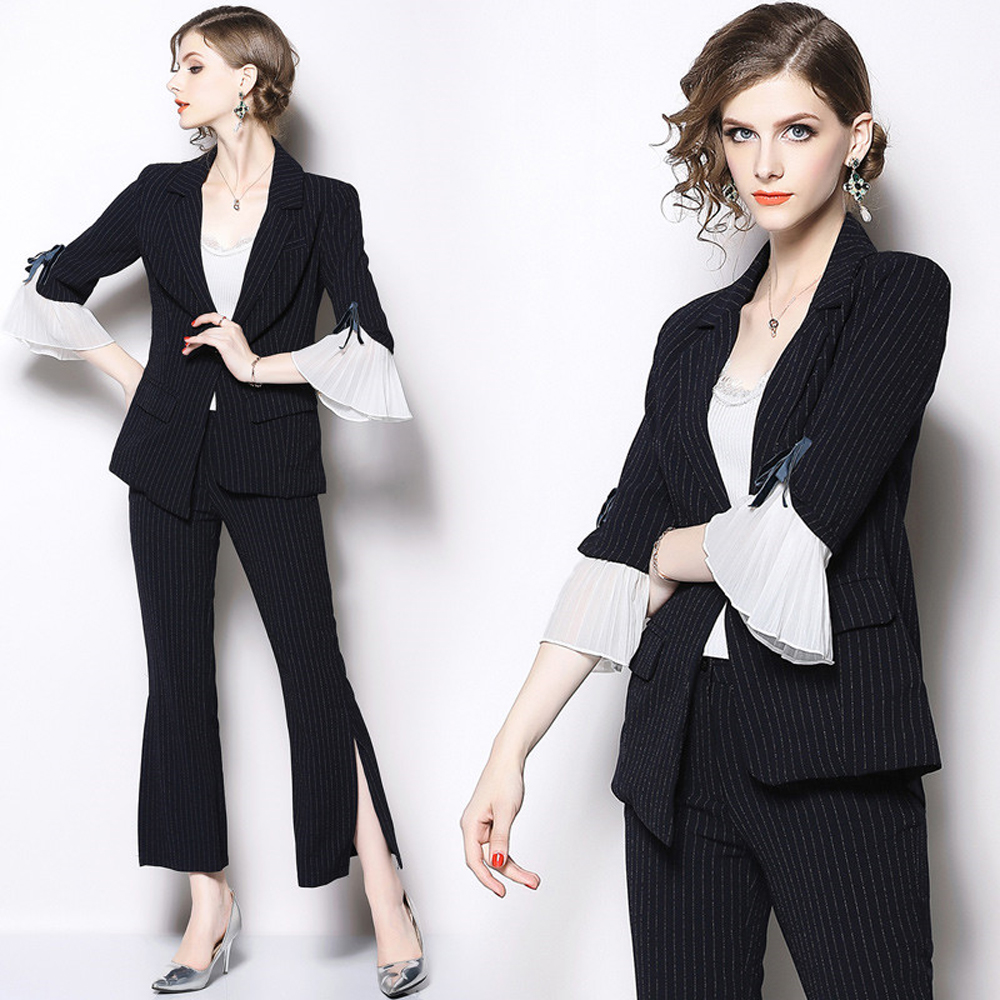 Casual Business Wear Two-Piece 2019ladies Small Fragrance Chiffon Mosaic Trumpet Sleeves Hem Hem Open Flared Pants Business Suit