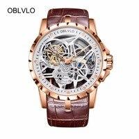 OBLVLO Skelet Militaire Horloges voor Mannen Analoge Display Tourbillon Automatische Horloges Bruin Lederen Band OBL3603