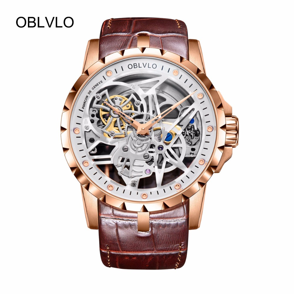 OBLVLO Skeleton Military Watches for Men Analog Display Tourbillon Automatic Watches Brown Leather Strap OBL3603