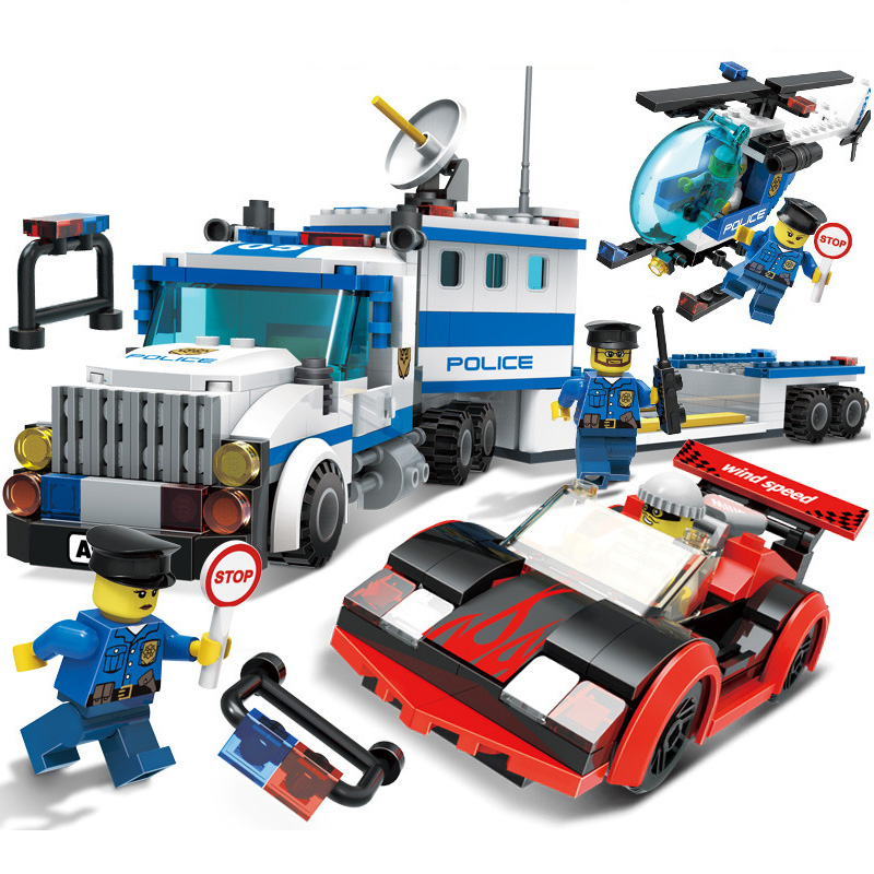 GUDI Chased The Robbers City Police Series Action Figure Block Building Model Set Brick 442Pcs Classic Children Educational Toys loz mini diamond block world famous architecture financial center swfc shangha china city nanoblock model brick educational toys