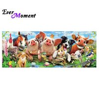 Ever Moment DIY Diamond Painting Cross Stitch Animal Selfie Diamond Mosaic 5D Happy Anmial Family Long Painting ASF1042