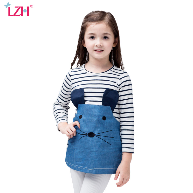 LZH 2017 Autumn Winter Girls Long Sleeve Dress Casual Striped Dress Kids Dresses For Girls Princess Party Dress Children Clothes fashion 2016 new autumn girls dress cartoon kids dresses long sleeve princess girl clothes for 2 7y children party striped dress