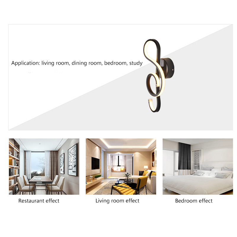 Minimalist Modern LED Wall Light Lamp Living Room Corridor Bathroom Hotel Night Lamp Music symbol wall lamp  WWO66|LED Indoor Wall Lamps| |  -