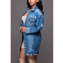 Autumn Winter Women Hole Denim Jacket Harajuku Long Sleeve Wind Jean Jacket Boyfriend Loose Coats Female