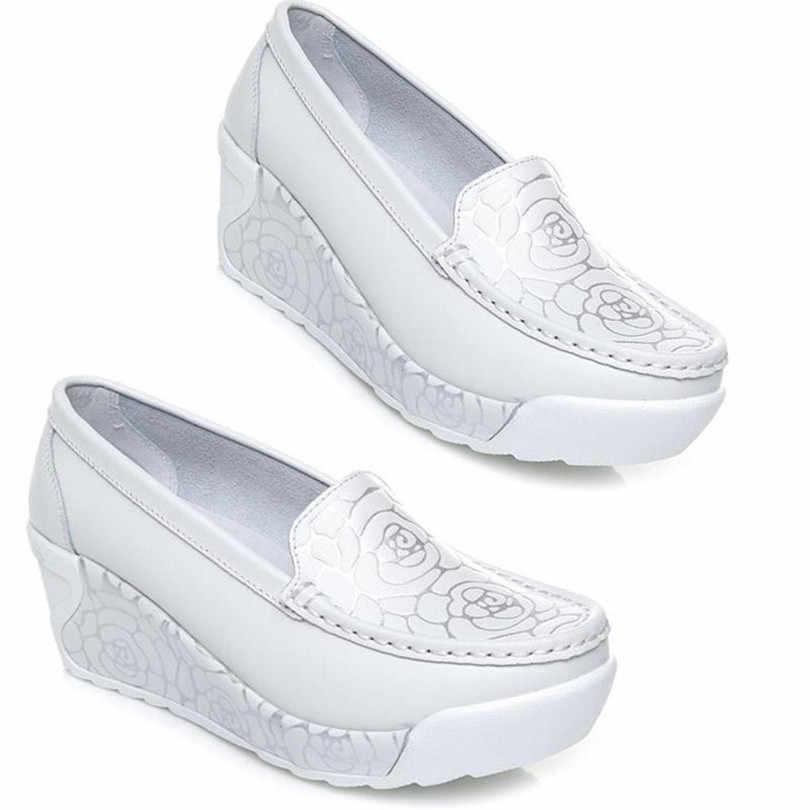 LIN kral kadınlar yaz Casual salıncak ayakkabı kalın taban platformu yüksekliği artan mokasen ince kayma On takozlar ayakkabı Tenis Feminino
