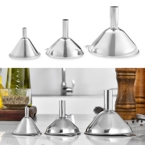 3Pcs Stainless Steel Multifunctional Durable Spices Wine Flask Filter Funnels Kitchen Gadgets Portable Essentail Oil Tools Funnels     -