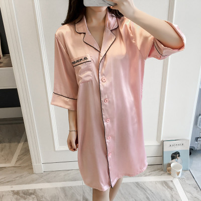 Women's Sexy Lingeries Embroidery Long Nightgown Plus Size Pink Dress Sleep Shirt Sleepwear Nightwear Silk Nightdress Homewear