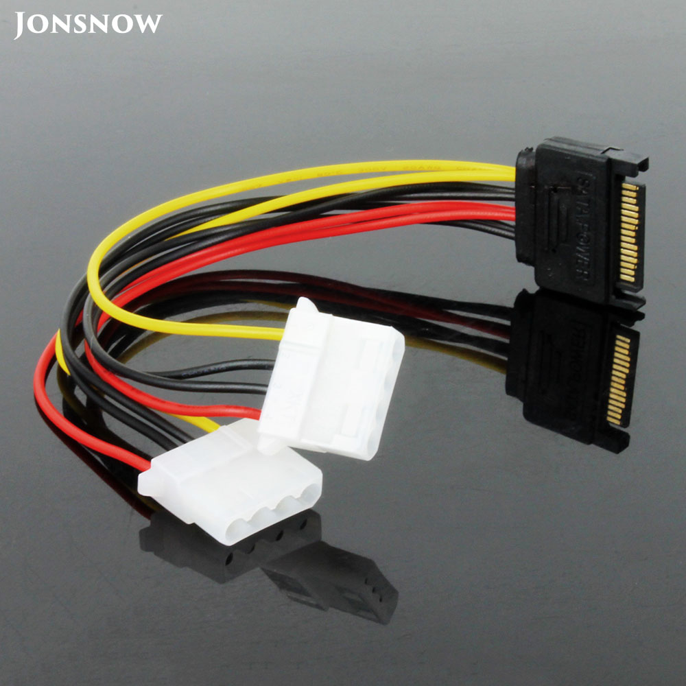 JONSNOW 20cm Power Adapter Cable SATA Male To Dual Molex 4-Pin IDE HDD Female PCI-E For Graphics Card BTC Miner