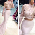 Two Pieces Peach Colored Long Mermaid Prom Dress Long Sleeve See Through 2016 Pastel Pink Party Evening Occasion Formal Gowns