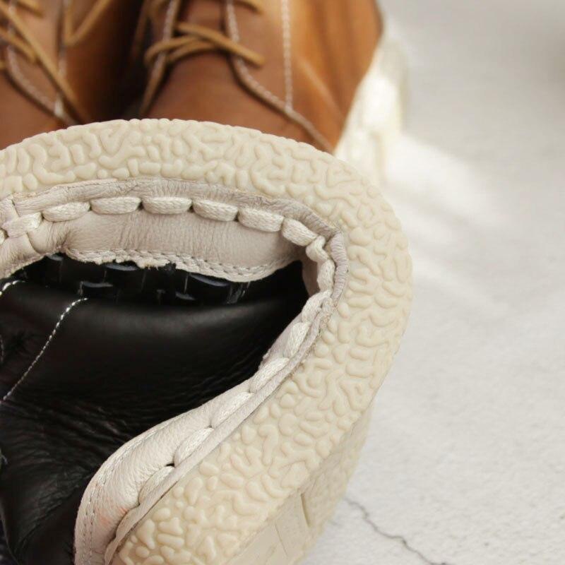 Beige Plano Tejido Mori Viento Mujeres Las Lana Japonés Genuino Zapatos Cuero A marrón Hecho Botas Retro Niña Calcetines Mano Planos negro Tubo Estilo De Martin Y0vBqwK