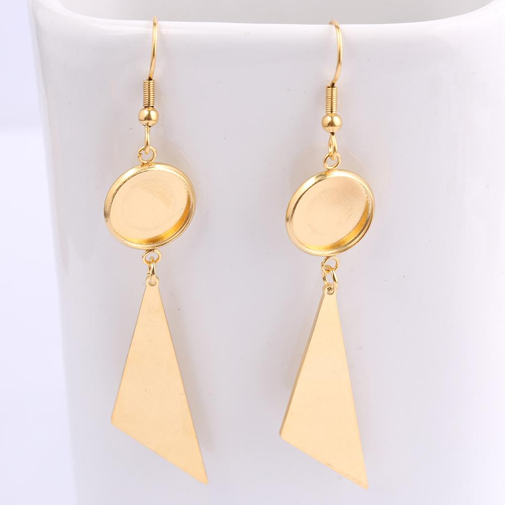 Reidgaller Gold Plated Stainless Steel Triangle Dangle Earring Base Blanks 12mm Cabochon Bezel Settings Diy Jewelry Findings