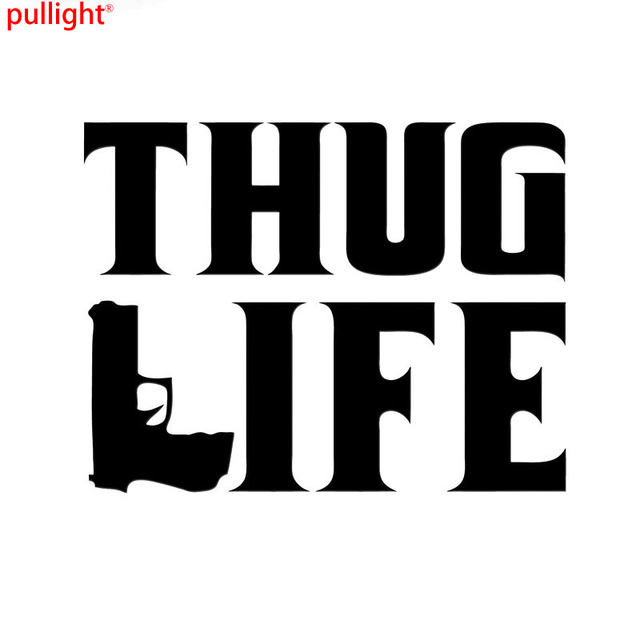 Thug life sticker tupac gangster funny hater shakur car gun decals cool graphics car sticker car