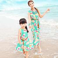 Family Look 2015 New Matching Mother And Daughter Dresses Bohemian Floral Printing Sleeveless Maxi Dress Plus