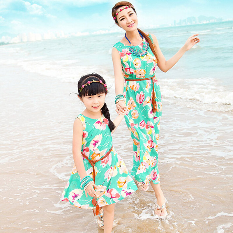Mutter und Tochter Freizeit Boho Gestreiftes Sommer Maxikleid Strand Mama /& mich