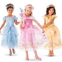 3-10 yrs New Summer girls dress Elsa Anna Children Baby Kids Cosplay Dress Costume Princess Perform Clothes Infantil Vestido