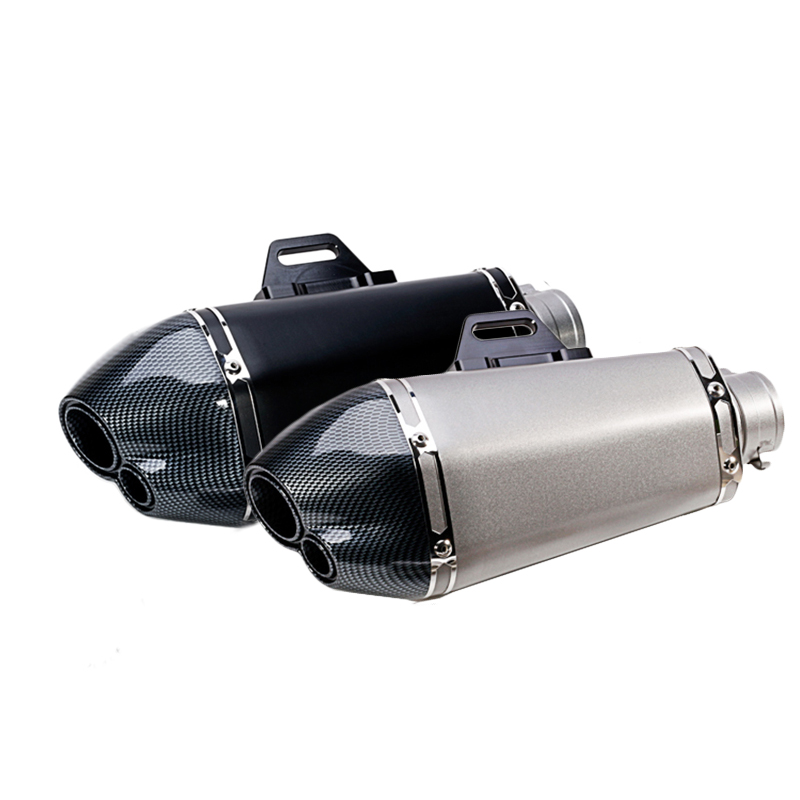 Double Mouth 51mm Motorcycle Exhaust Escape Muffler Pipe Case For CB400 R6 R15 Z750 ER6N TMAX 500 Stainless Steel